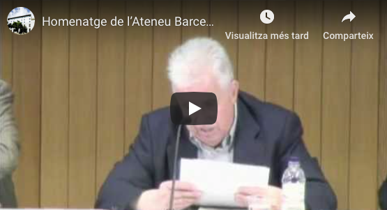 "Recording of the act ""Tribute of the Ateneu Barcelonès to Josep Termes"", held at the Ateneu Barcelonès on May 28, 2015. Speeches by professors Jordi Cassasas (President of the Ateneu), Teresa Abelló, Agustí Colomines and Josep Fontana"